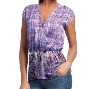 CAbi Purple Floral Astor Tunic, Size Large